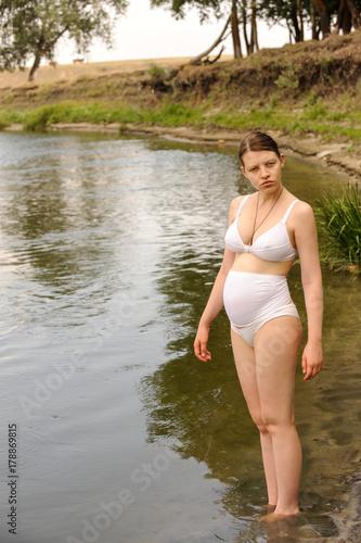 A in Female lake nude
