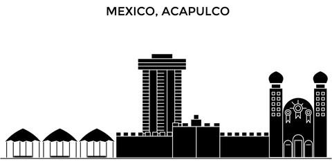 Mexico, Acapulco architecture skyline, buildings, silhouette, outline landscape, landmarks. Editable strokes. Flat design line banner, vector illustration concept.