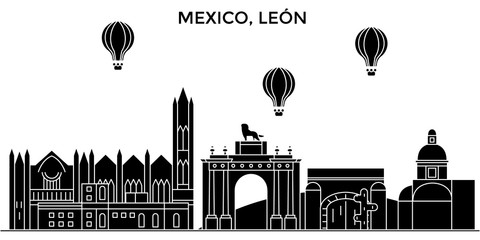 Mexico, Leon architecture skyline, buildings, silhouette, outline landscape, landmarks. Editable strokes. Flat design line banner, vector illustration concept.