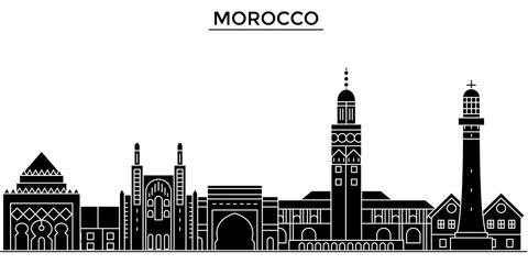 Morocco architecture skyline, buildings, silhouette, outline landscape, landmarks. Editable strokes. Flat design line banner, vector illustration concept.