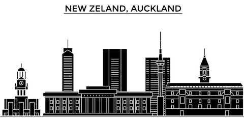New Zeland, Auckland architecture skyline, buildings, silhouette, outline landscape, landmarks. Editable strokes. Flat design line banner, vector illustration concept.