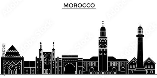 morocco architecture skyline buildings silhouette outline