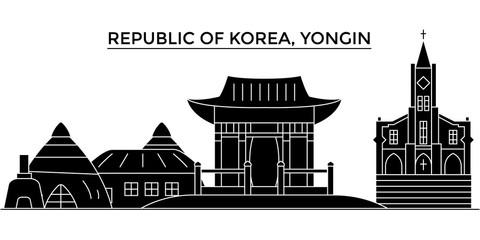 Republic Of Korea, Yongin architecture skyline, buildings, silhouette, outline landscape, landmarks. Editable strokes. Flat design line banner, vector illustration concept.