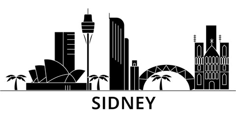 Sidney architecture skyline, buildings, silhouette, outline landscape, landmarks. Editable strokes. Flat design line banner, vector illustration concept.