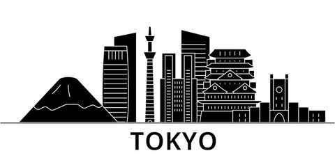 Tokyo Japan architecture skyline, buildings, silhouette, outline landscape, landmarks. Editable strokes. Flat design line banner, vector illustration concept.