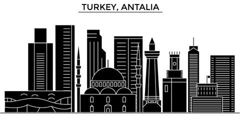 Turkey, Antalia architecture skyline, buildings, silhouette, outline landscape, landmarks. Editable strokes. Flat design line banner, vector illustration concept.