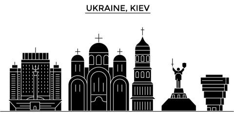 Ukraine, Kiev architecture skyline, buildings, silhouette, outline landscape, landmarks. Editable strokes. Flat design line banner, vector illustration concept.
