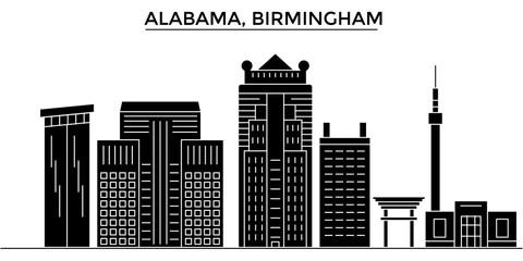 Usa, Alabama. Birmingham architecture skyline, buildings, silhouette, outline landscape, landmarks. Editable strokes. Flat design line banner, vector illustration concept.