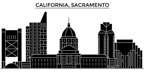 Usa, California  Sacramento architecture skyline, buildings, silhouette, outline landscape, landmarks. Editable strokes. Flat design line banner, vector illustration concept.