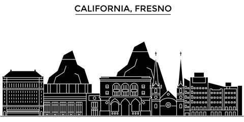 Usa, California Fresno architecture skyline, buildings, silhouette, outline landscape, landmarks. Editable strokes. Flat design line banner, vector illustration concept.