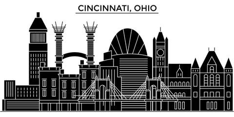 Usa, Cincinnati, Ohio architecture skyline, buildings, silhouette, outline landscape, landmarks. Editable strokes. Flat design line banner, vector illustration concept.