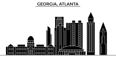 Usa, Georgia, Atlanta architecture skyline, buildings, silhouette, outline landscape, landmarks. Editable strokes. Flat design line banner, vector illustration concept.