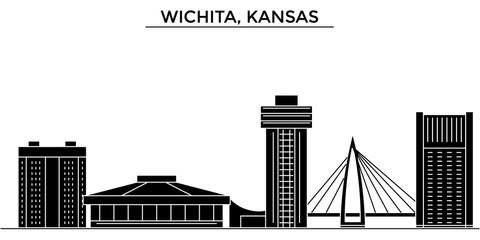 Usa, Kansas, Wichita architecture skyline, buildings, silhouette, outline landscape, landmarks. Editable strokes. Flat design line banner, vector illustration concept.