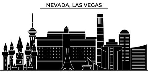 Usa, Nevada, Las Vegas architecture skyline, buildings, silhouette, outline landscape, landmarks. Editable strokes. Flat design line banner, vector illustration concept.