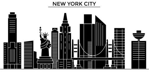 Usa, New York, New York City architecture skyline, buildings, silhouette, outline landscape, landmarks. Editable strokes. Flat design line banner, vector illustration concept.