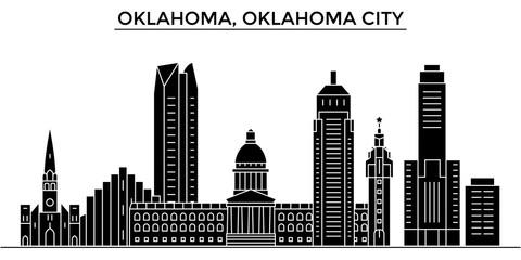 Usa, Oklahoma, Oklahoma City architecture skyline, buildings, silhouette, outline landscape, landmarks. Editable strokes. Flat design line banner, vector illustration concept.