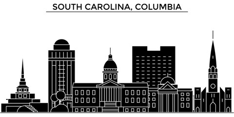 Usa, South Carolina, Columbia architecture skyline, buildings, silhouette, outline landscape, landmarks. Editable strokes. Flat design line banner, vector illustration concept.