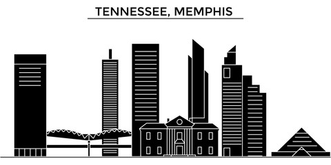 Usa, Tennessee, Memphis architecture skyline, buildings, silhouette, outline landscape, landmarks. Editable strokes. Flat design line banner, vector illustration concept.