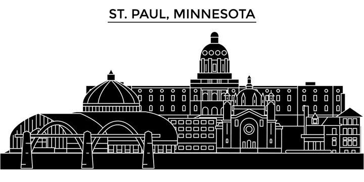 Usa, St. Paul, Minnesota architecture skyline, buildings, silhouette, outline landscape, landmarks. Editable strokes. Flat design line banner, vector illustration concept.