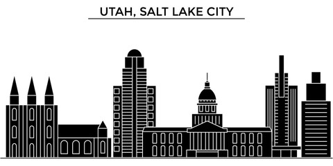 Usa, Utah, Salt Lake City architecture skyline, buildings, silhouette, outline landscape, landmarks. Editable strokes. Flat design line banner, vector illustration concept.