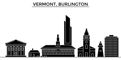Usa, Vermont, Burlington architecture skyline, buildings, silhouette, outline landscape, landmarks. Editable strokes. Flat design line banner, vector illustration concept.
