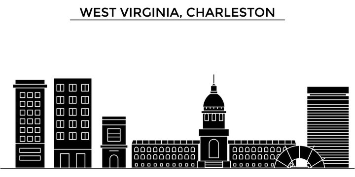 Usa, West Virginia, Charleston architecture skyline, buildings, silhouette, outline landscape, landmarks. Editable strokes. Flat design line banner, vector illustration concept.