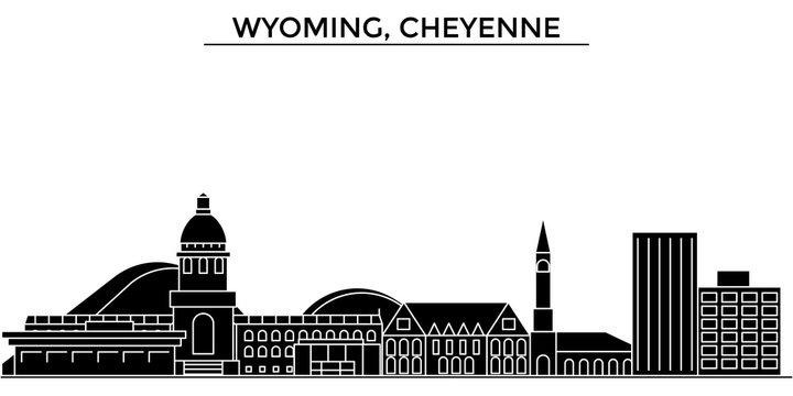 Usa, Wyoming, Cheyenne architecture skyline, buildings, silhouette, outline landscape, landmarks. Editable strokes. Flat design line banner, vector illustration concept.