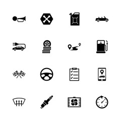 Automobile icons - Expand to any size - Change to any colour. Flat Vector Icons - Black Illustration on White Background.