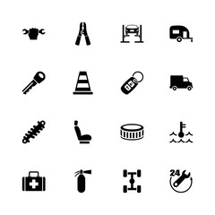 Car Repair icons - Expand to any size - Change to any colour. Flat Vector Icons - Black Illustration on White Background.