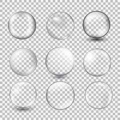 Set of transparent glass sphere with glares and highlights.