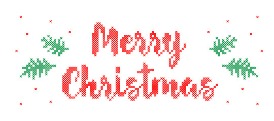 Merry Christmas - cross stitched inscription.
