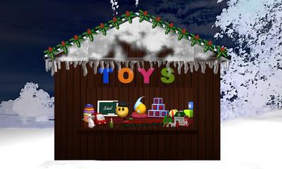 Weihnachtsstand mit Spielzeug und nächtlicher Schneelandschaft als Hintergrund