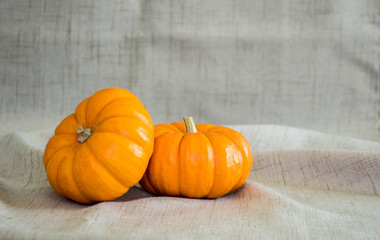 2 small pumpkins leaning on each other against a tan cloth background
