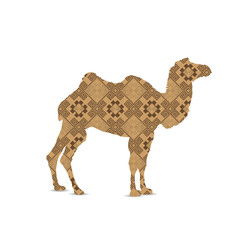 Silhouette of camel with eastern art background.