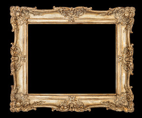 Golden picture frame black background clipping path