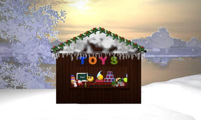 Weihnachtsstand mit Spielzeug und Schneelandschaft als Hintergrund