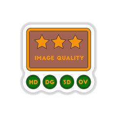 Vector illustration in paper sticker style High quality picture movie