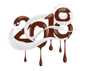 Date of the New Year 2018 year drawn by liquid chocolate with milk splashes, isolated on white background