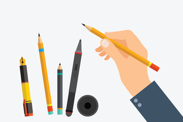 Man's hand with writing tools and office supplies set. Flat illustration