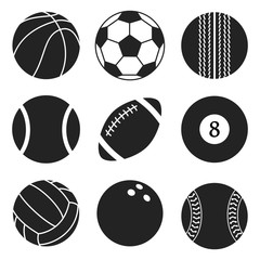 Sports balls vector set. Cartoon ball icons. Black and white cut collection. Flat style.