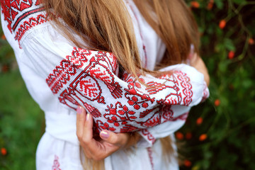 Beautiful slavonic girl in traditional costume