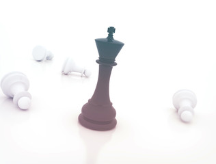Last one standing. Chess king standing - Business concept