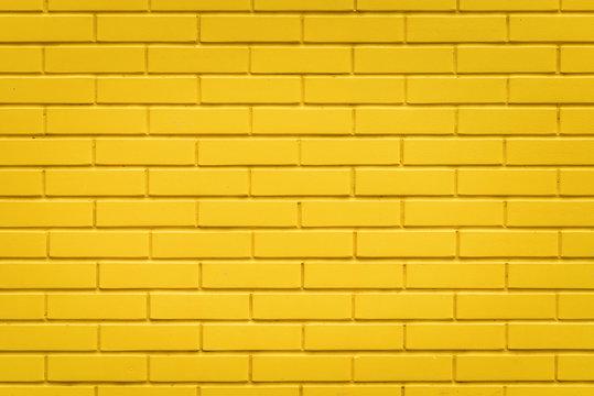 Yellow brick wall texture background, horizontal pattern