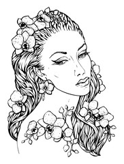 Pretty elegant boho girl with floral wreath made of orchid. Hand drawn amazing floral bohemia coloring book page for adult