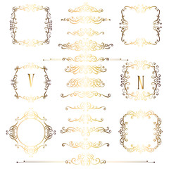 Big set of gold vintage styled calligraphic frames and flourishes, complex and exquisite decoration for invitation or greeting card
