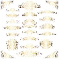 Collection of vintage calligraphic flourishes, curls and swirls decoration for greeting cards,books or dividers. Gold set for decoration and design