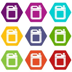 Plastic jerry can icon set color hexahedron