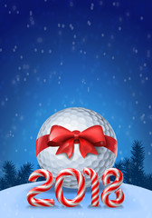 Golf ball with candy cane numbers of 2018