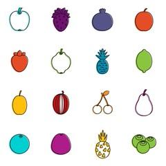 Fruit icons doodle set