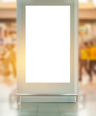 Blank billboard advertising panel in terminal airport, Mock up white screen, insert for text of customer. Space for texting in products or promotional at airport,train station,advertising public.
